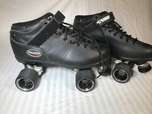 RIEDELL CARRERA Vintage Speed Roller Skates Size 11 Black Leather Sure Grip 96A