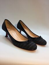 CHRISTIAN LOUBOUTIN MARCIA BALLA RIBBON DARK GRAY FLANNEL PUMPS SZ 37 US SZ 6.5M