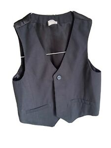 H&M Boys Waistcoat Age 12-18 Months Black With Buttons Sleeveless