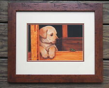 Yellow Lab Puppy Dog Open Print Picture by Jim Lamb Made in Canada Framed