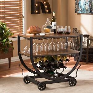 Brown Bronze Wine Rack Rolling Wooden Metal Beverage Bar Serving Cart Drink Tray