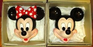 Disney's  Mickey & Minnie Mouse Ceramic Wall Hanging Set  New  W/Boxes   Japan