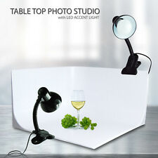 Photo Studio Table Top Seamless White Background with Led Accent Light Clamp