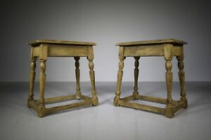 Pair of 19th Century Antique Painted Pine Joint Stools / Side Tables