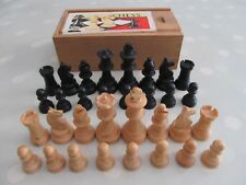 VINTAGE WOODEN K & C CHESS SET COMPLETE IN A WOODEN BOX 60mm KING