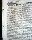 JAMES K. POLK & the Discovery of California GOLD Annual Address 1848 Newspaper