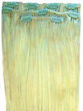 Clip en Remy 100% cabello humano Real extensiones media cabeza Rubio Platino 60#
