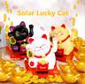 White/Black Solar Powered Waving Fortune Cat Lucky Maneki Neko Home Car Decor HG