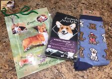 Lot Wheel House Pembroke Welsh Corgi & K.Bell Waldo Dog Women's Socks w Gift Bag