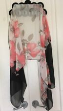 Un Jour Ailleurs Sheer Scarf Floral Black Red & White-Large