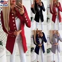 Womens Ladies Slim Long Sleeve Blazer Suit Casual Buttons Coat Jacket Outwears