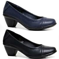 Ladies Womens New Mid Slim Block High Heel Work Pumps Party Court Shoes Size 3-8