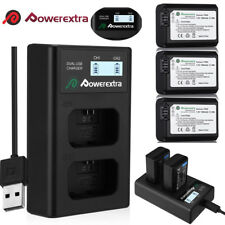 NP-FW50 Battery for Sony Alpha A6000 A6300 A6500 A7r A7+ & LCD Dual USB Charger