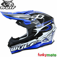 Wulfsport Adulto cetro Azul Enduro Motocross Dirt Bike Casco de Motocicleta Quad