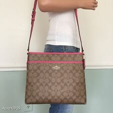 NEW! COACH Pink Brown Signature PVC Leather Crossbody Shoulder Bag Purse