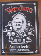 Wrexham v Anderlecht football programme 17.3.1976
