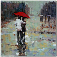 Rain of Romance - 50x50cm  Hand Painted Impressionist Oil Painting On Canvas