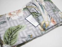 Williams Sonoma Home Gray Greek Key Bird Floral Sateen Full Queen Duvet Cover