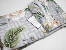 Williams Sonoma Home Gray Greek Key Bird Floral Sateen King Cal King Duvet Cover