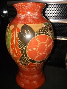 """Nicaragua Pottery Traditional Relief Incised Sea Turtle Vase, 9"""" tall"""