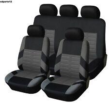 Peugeot Renault Citroen Coprisedili Grigio e Nero Fodere Set Completo Tessuto