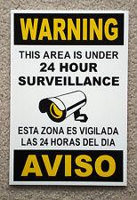 Security Video Surveillance Warning  24 Hr Coroplast  Sign 8x12 Spanish English