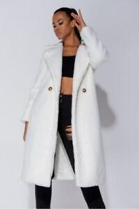 Women Teddy Bear Coat Long Jacket Cardigan Faux Fur Loose Casual Warm Outwear