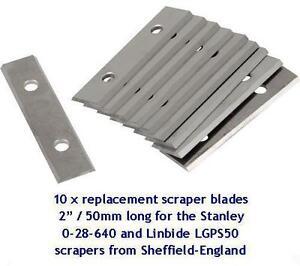 "20 x solid tungsten scraper blades 2"" / 50mm to fit LINBIDE & STANLEY scrapers"