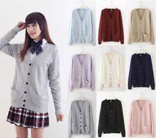 Spring Japanese Women Girl Long Sleeve V-neck Cardigan Sailor Button JK Sweater