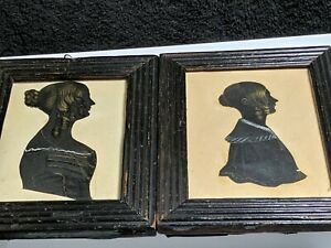 2 Charming portrait silhouette painting john twisdens 8th9th doughters 1881/1909
