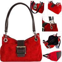Red Ladies Italian Real Suede Leather Handbag Small Shoulder Bag Tote Bag Buckle