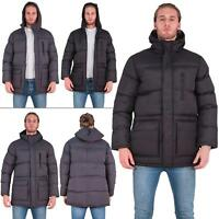 Mens Brave Soul Zipped Long Padded Hooded Quilted Puffer Winter Jacket Size S XL