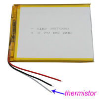 3.7V 3000 mAh 3 wire Polymer Li battery Lipo thermistor For GPS tablet PC 357090