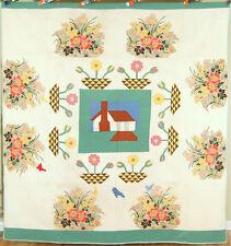 Large Vintage Folk Art Antique Quilt w/ House, Birds & Broderie Perse Applique!