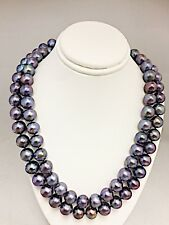 """LADIES FRESHWATER DYED BLACK PEARL NECKLACE   9.5 MM PEARLS  36"""" IN LENGTH"""