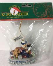 Kurt Adler Santa Navy Christmas Ornament Hanging Presents Ship J7116 New