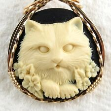 Flower Cat Cameo Pendant 14K Rolled Gold Animal Jewelry Cream Resin