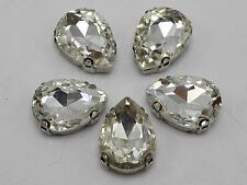 20 Silver Crystal Glass Teardrop Rose Montees 10X14mm Sew on Rhinestones Beads