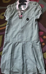 Bnwt Girls Green Gingham Check Summer School Dress Uniform x 2 Age 12 - 13