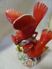 "VINTAGE NAPCO D-1784 CERAMIC RED CARDINAL BIRDS FIGURINE-JAPAN-8"" TALL-IMPERFECT"