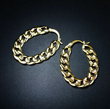 Sevil 18k Gold Plated Chain Link Hoop Earrings