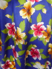 Beautiful Ralph Lauren scarf - pure silk, royal blue + coloured hibiscus