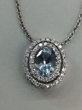 14kt White Gold Oval Cut Aquamarine in Double Halo Diamonds Setting Pendant