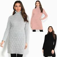 Womens Ladies Turtle Neck Cable Knit Long Jumper Winter Sweater Casual Warm