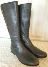 Born Womens Size 8M Dark Brown Leather Boots Studded Side Zip Riding Knee High