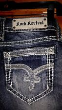 Rock Revival Sherry Boot Cut Distressed Designer Jeans B4 Size 28 Inseam 34""