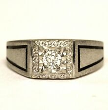14k white gold .20ct SI1 H round diamond mens solitaire ring 6.4g gents vintage