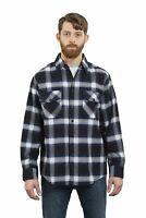 YAGO Men's Casual Plaid Flannel Long Sleeve Button Down Shirt Navy/2 (S-5XL)