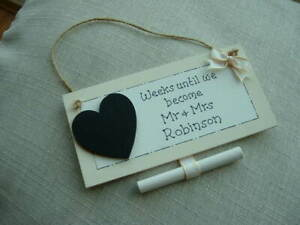 PERSONALISED WEDDING COUNTDOWN GIFT PLAQUE WITH CHALKBOARD HEART