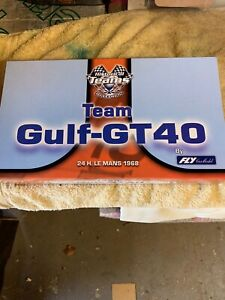 Rare 1:32 scale Fly Slot Car Gulf Ford GT40 Triple Car set from 1968, Un used